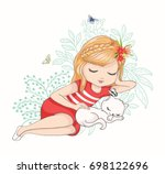 cute girl with cat vector...   Shutterstock .eps vector #698122696