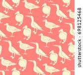 stylized exotic birds seamless...   Shutterstock .eps vector #698125468