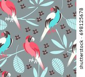 stylized exotic birds seamless... | Shutterstock .eps vector #698125678