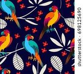stylized exotic birds seamless... | Shutterstock .eps vector #698125690
