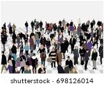 illustration of crowded hall in ... | Shutterstock .eps vector #698126014