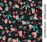 cute seamless floral pattern. ...   Shutterstock .eps vector #698126308