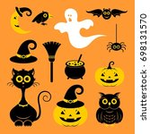 halloween icons or logos in... | Shutterstock .eps vector #698131570