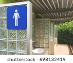 blue men toilet icon on a sign. ... | Shutterstock . vector #698132419