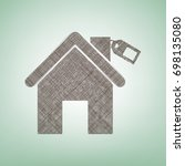 home silhouette with tag.... | Shutterstock .eps vector #698135080