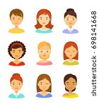 girl avatar vector icon set.... | Shutterstock . vector #698141668