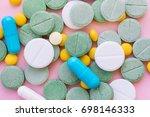 opioid pills. opioid epidemic... | Shutterstock . vector #698146333