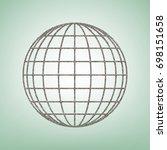 earth globe sign. vector. brown ... | Shutterstock .eps vector #698151658