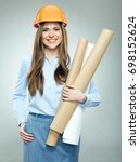 woman architect wearing builder ... | Shutterstock . vector #698152624