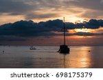 Twilight Scene Of Boat With...