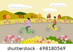 young woman and man ride the... | Shutterstock .eps vector #698180569