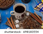 indonesian coffee and coffee... | Shutterstock . vector #698183554