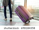 woman traveler walking with...   Shutterstock . vector #698184358