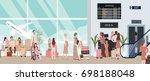 busy airport scene illustration ...   Shutterstock .eps vector #698188048