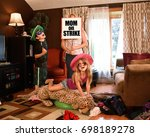 a housewife mother is under... | Shutterstock . vector #698189278
