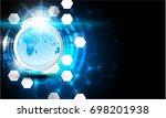 global network connection.... | Shutterstock .eps vector #698201938