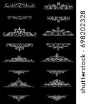 vintage vector swirl frame set | Shutterstock .eps vector #698202328