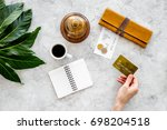 pay the bills at restaurant.... | Shutterstock . vector #698204518