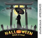 Halloween Japan Two Face Geish...