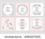 vectored rose frames  ink drawn ... | Shutterstock .eps vector #698207050