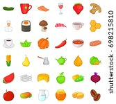 food for diet icons set
