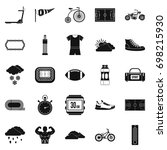 bicycling icons set. simple set ... | Shutterstock .eps vector #698215930