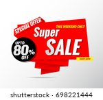 super sale banner template red... | Shutterstock .eps vector #698221444