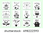Stock vector cards with funny animals and exclamations tiger pig bear fox sheep cat pug panda rabbit for the 698222593