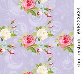 seamless floral pattern with...   Shutterstock .eps vector #698223634