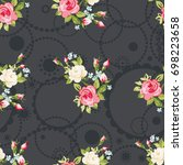 seamless floral pattern with...   Shutterstock .eps vector #698223658