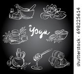 hand drawn set of spa... | Shutterstock .eps vector #698225614