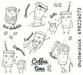 coffee time sketch style... | Shutterstock .eps vector #698226073