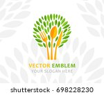 tree from leaves  fork spoon... | Shutterstock .eps vector #698228230
