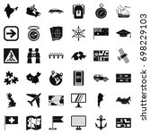globe cartography icons set.... | Shutterstock .eps vector #698229103