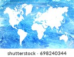 watercolor map of the world.... | Shutterstock . vector #698240344