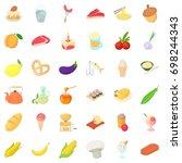 morning breakfast icons set.... | Shutterstock .eps vector #698244343