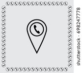 map pointer with phone vector... | Shutterstock .eps vector #698247778