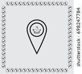 map pointer with cup of tea... | Shutterstock .eps vector #698247784