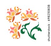 embroidery. flowers in a... | Shutterstock .eps vector #698250838