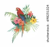 illustration with exotic leaves ... | Shutterstock .eps vector #698251324