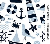 seamless pattern with nautical... | Shutterstock .eps vector #698252893