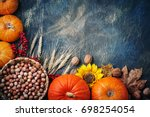 Table Decorated With Pumpkins...