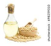 soybean and soybean oil bottle... | Shutterstock . vector #698259310