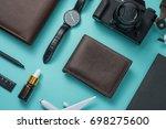 overhead view of men's casual... | Shutterstock . vector #698275600