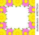 flower frame of pink and yellow ... | Shutterstock .eps vector #698279614