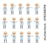set of old professor characters ... | Shutterstock .eps vector #698288098