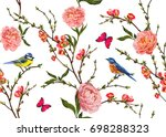 Stock vector seamless vector floral pattern background with hand drawn birds tropical japanese flowers 698288323
