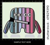 colorful monster on gray...   Shutterstock .eps vector #69829390