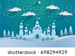 the beautiful castle in winter... | Shutterstock .eps vector #698294929