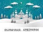 the beautiful castle in winter... | Shutterstock .eps vector #698294944